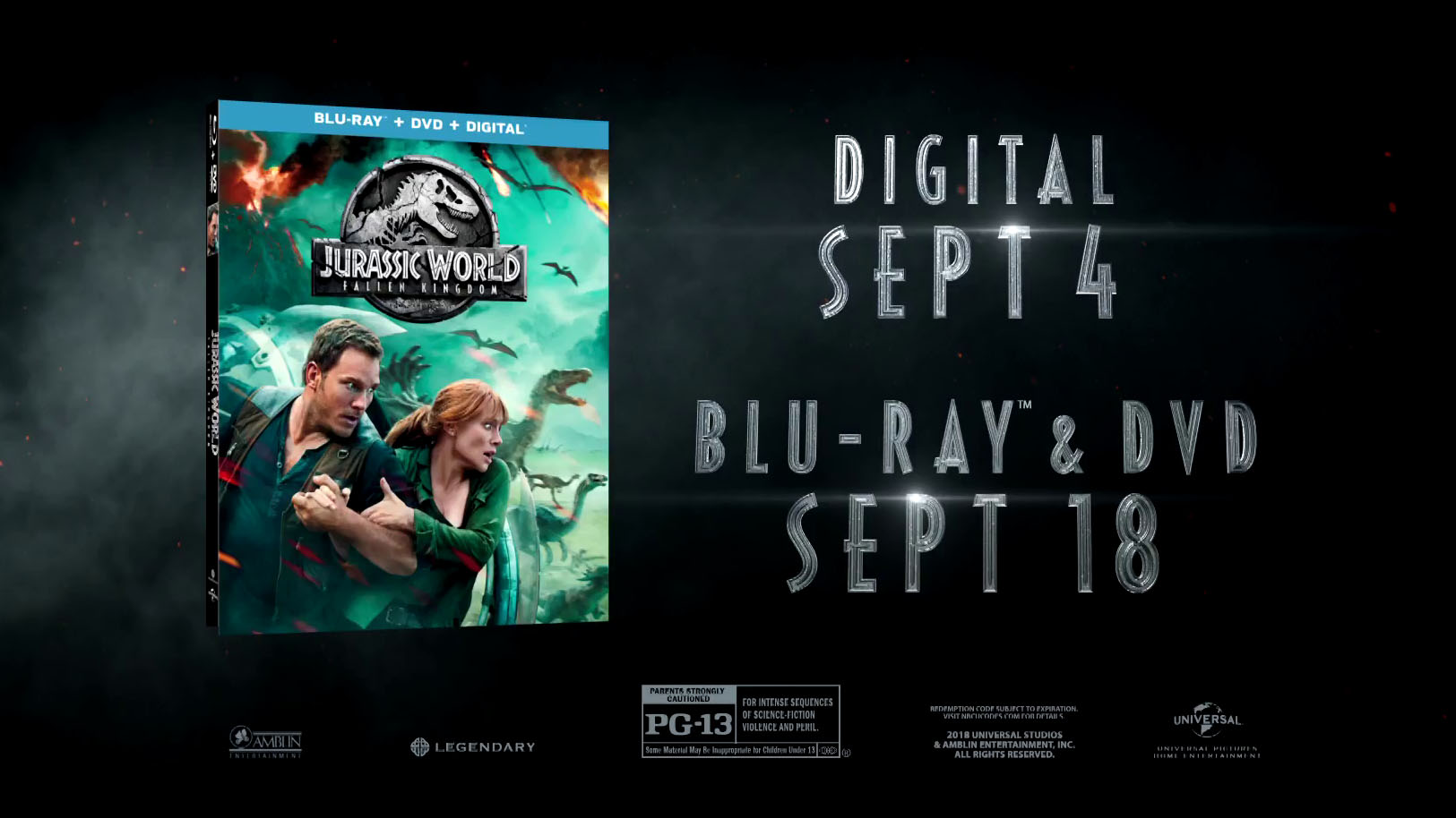 Jurassic World: Fallen Kingdom Blu-Ray/DVD Details | The
